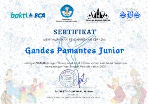 sanggar gandes pamantes masuk sebagai finalis dalam Lomba Virtual Tari Kreasi Nusantara 2020
